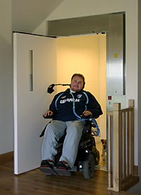 A platform lift installed at the home of Matt Hampson, who was left quadriplegic after a rugby accident